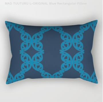 MAD TUUTURU L-Orig Blue Rectangle Pillow / Cushion