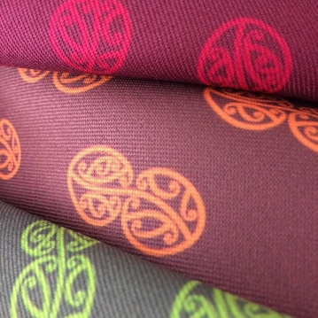 MAD Mauriora Fabric Proofs with Inka Design - Cherry, Orange, Green